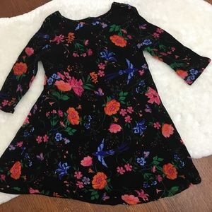 Colorful Floral Black Dress